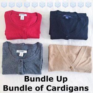 Bundle of Cardigans - Red, Black, Camel, Grey XS/S